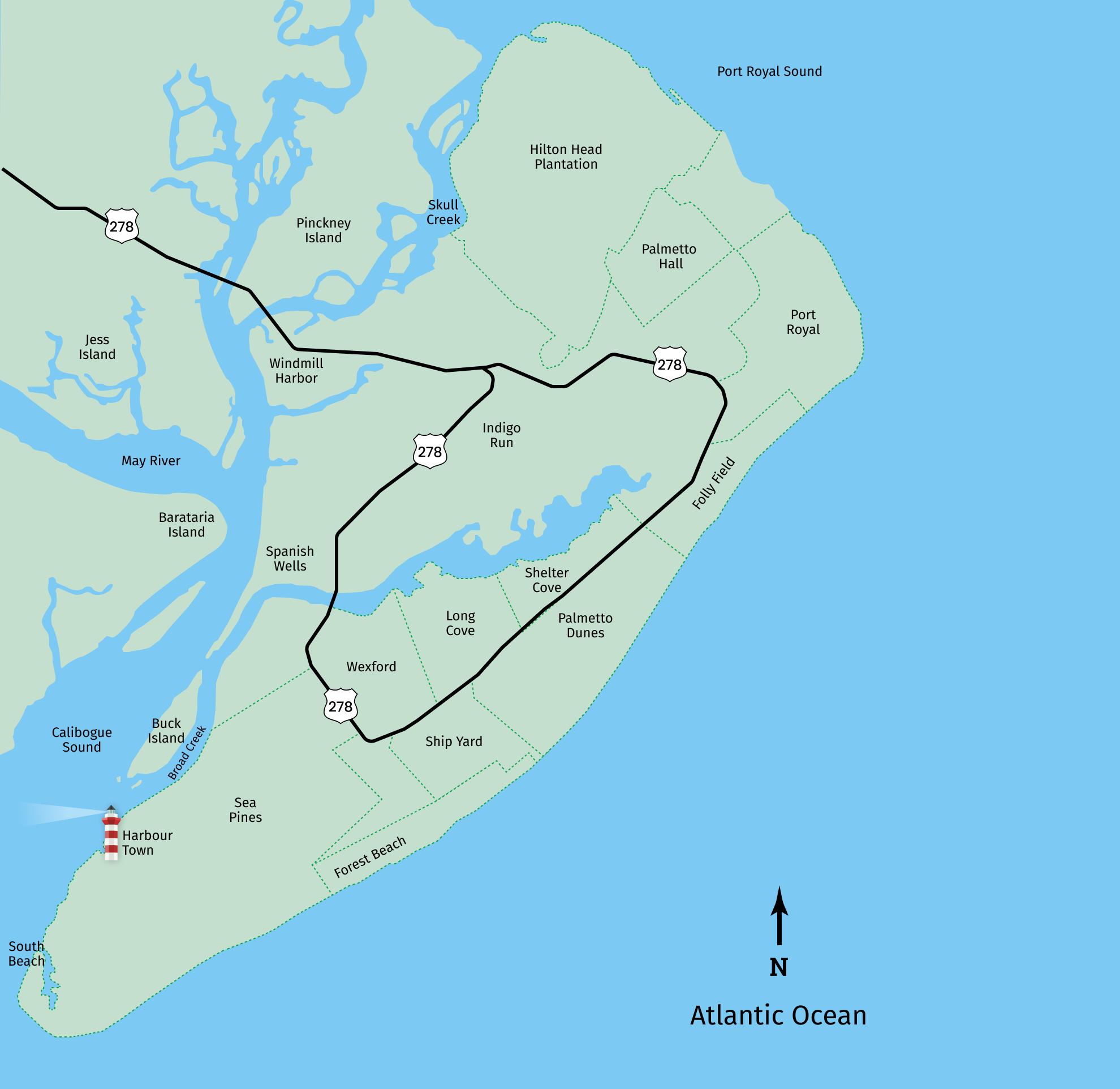 Hilton Head bike rental map